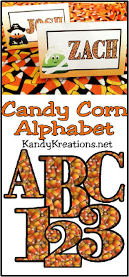 Download this free Candy Corn Alphabet for use in your Halloween projects.  Use it with our Candy Corn party set or in your scrapbook pages.  Alphabet has the letters A-Z and the numbers 0-9 in a png graphics format.