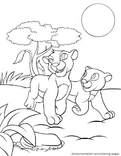 Adorable Baby Lion On Forest Coloring Sheet For Kids