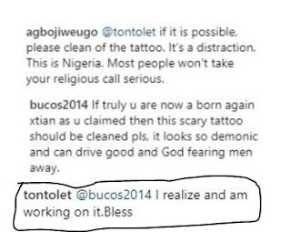 Tonto dikeh working on erasing her tattoos