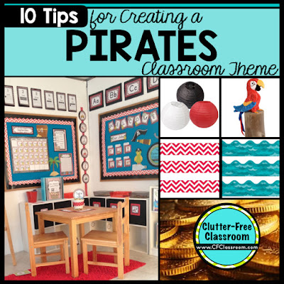Are you planning a pirate themed classroom or thematic unit? This blog post provides great decoration tips and ideas for the best pirate theme yet! It has photos, ideas, supplies & printable classroom decor to will make set up easy and affordable. You can create a pirate theme on a budget!