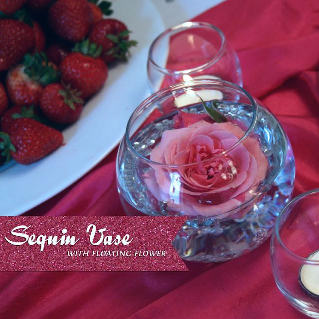 Floating Flower Centerpieces: {DIY} Sequin Vase With Floating Flower Centerpiece