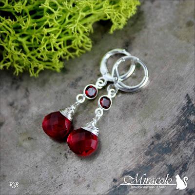 Miracolo, kolczyki z granatem, kolczyki z kwarcem turmalinowym, garnet earrings, tourmaline quartz earrings, kwrac turmalinowy