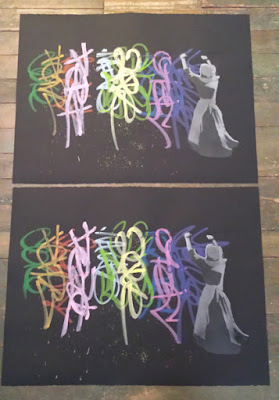 Armando Chainsawhands Wet Tags Spray Paint Stencil Originals On Paper
