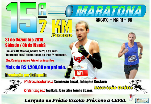 15ª Maratona será realizada no distrito de Angico, município de Mairi