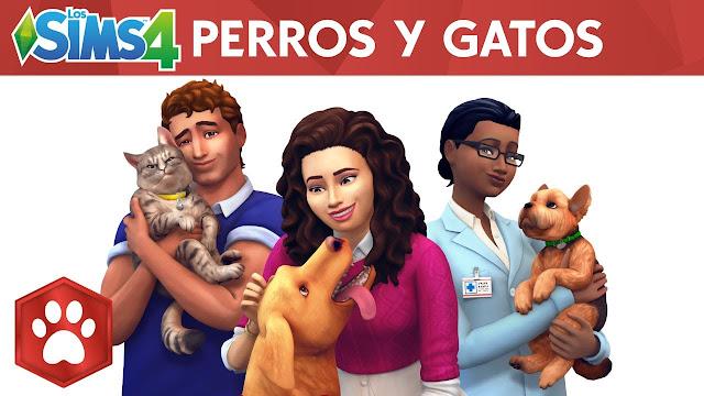 """Portada del juego Los Sims 4 """"Perros y Gatos"""""""