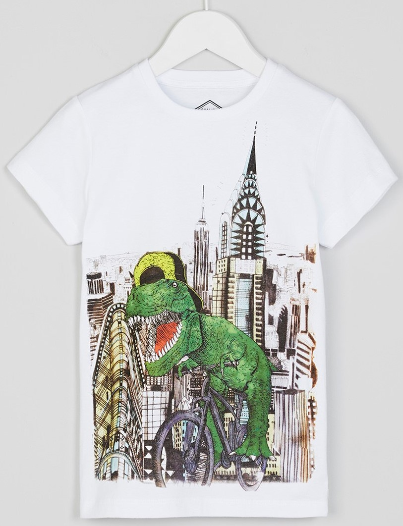 0caeb1ab3 'New York Dinosaur' T shirt - £4 at Matalan I like the watercolour style  print, a T-Rex on a bicycle rampaging through the city streets.