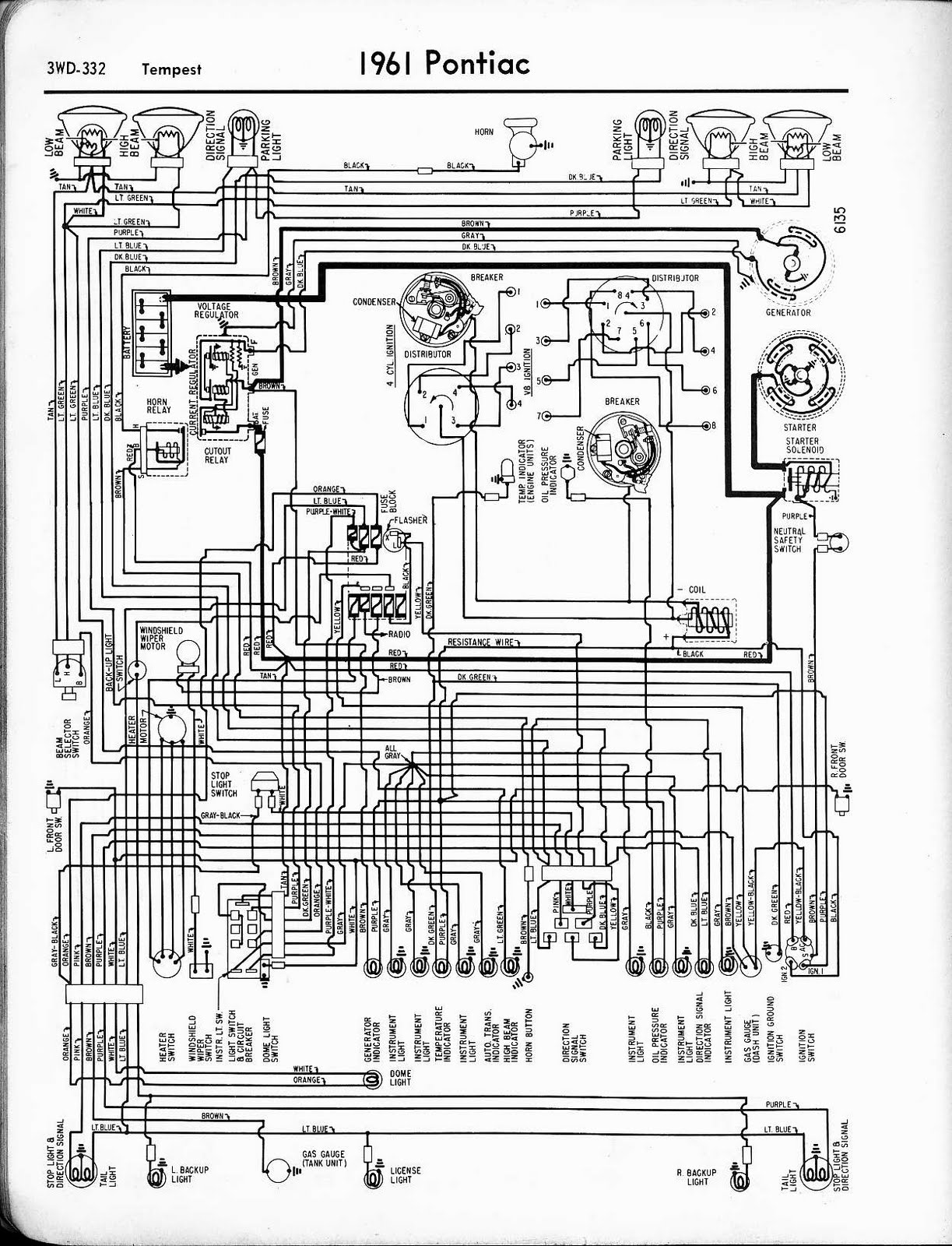 Free Auto Wiring Diagram: 1961 Pontiac Tempest Wiring Diagram