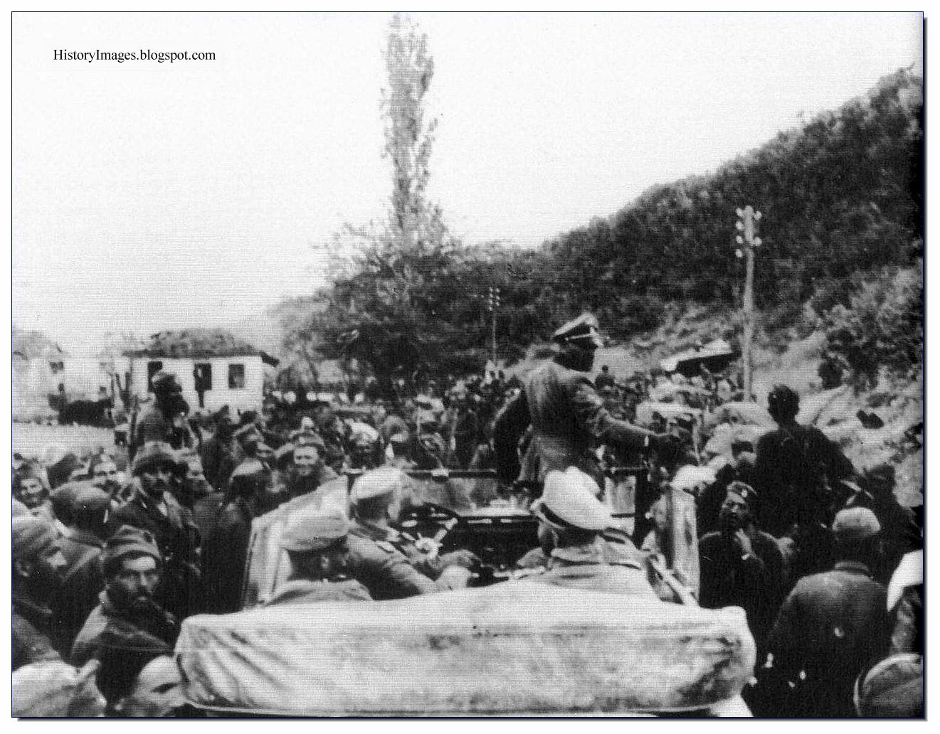 "Occupied Greece. April 1941. Sepp Dietrich of the   1st SS Panzer Division ""Leibstandarte SS Adolf Hitler""  talks  Greek prisoners. Rare WW2 Images"