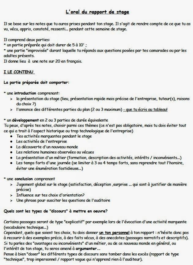 Rapport De Stage 3eme Exemple De Rapport De Stage 3eme
