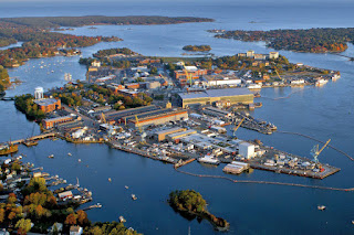 The Portsmouth Naval Shipyard in Maine is one of several military sites at risk from sea level rise, at new report from a panel of retired military officers warns. (Credit: U.S. Navy) Click to Enlarge.