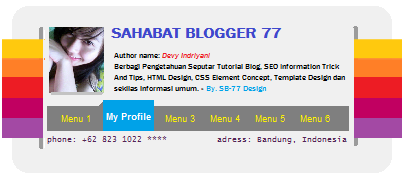 Profile Box Information Title With Menu Item