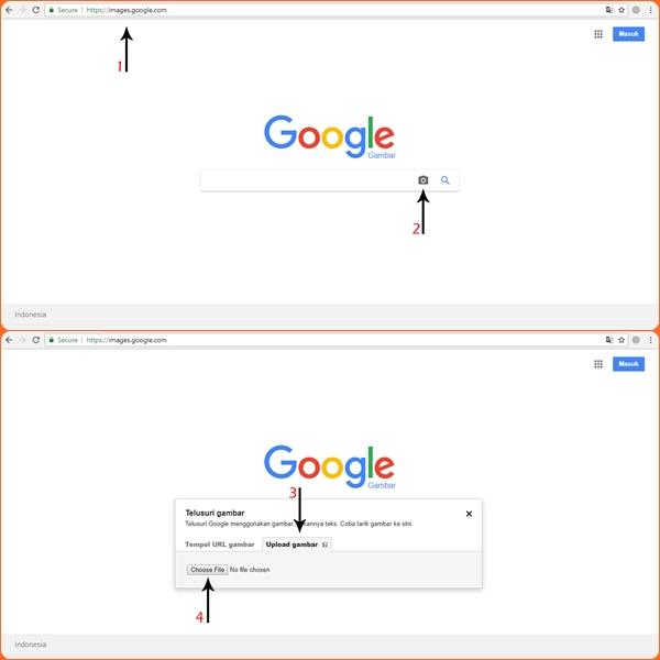 Google Image Search atau SGFI dengan metode upload gambar target pencarian.