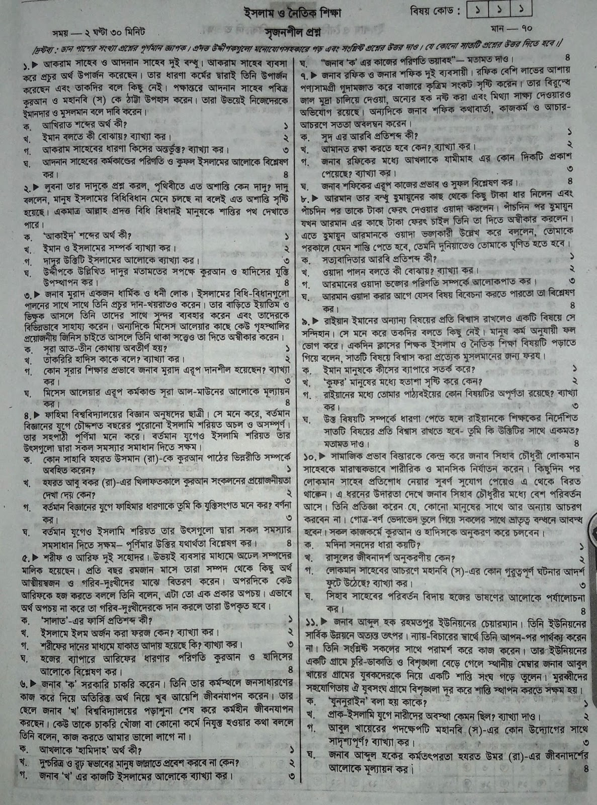 ssc Islam and Moral Studies suggestion, question paper, model question, mcq question, question pattern, syllabus for dhaka board, all boards