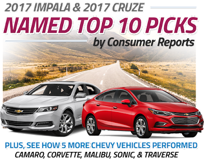 Chevy Consumer Reports Name Impala & Cruze in Top 10 of 2017
