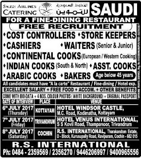 Latest Saudi Airline Catering company jobs
