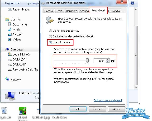 Menjadikan Flashdisk Sebagai RAM eksternal di Windows 7 - Terataso.com