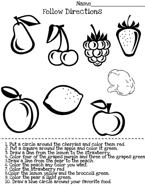 Free Following Directions For Kindergarten Worksheets