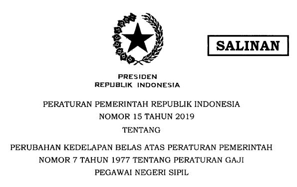Peraturan Pemerintah tentang Gaji PNS/ASN, POLRI dan TNI