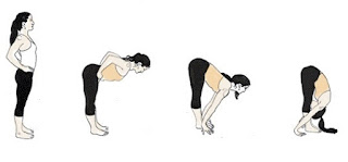 bend forward and try to touch the ground while keeping your legs straight.