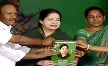 Jayalalithaa releases ADMK's election manifesto at Erode