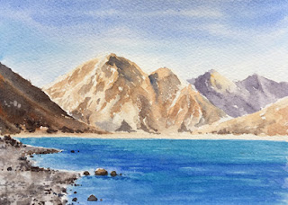 A water colour painting of Pangong Lake in Ladakh