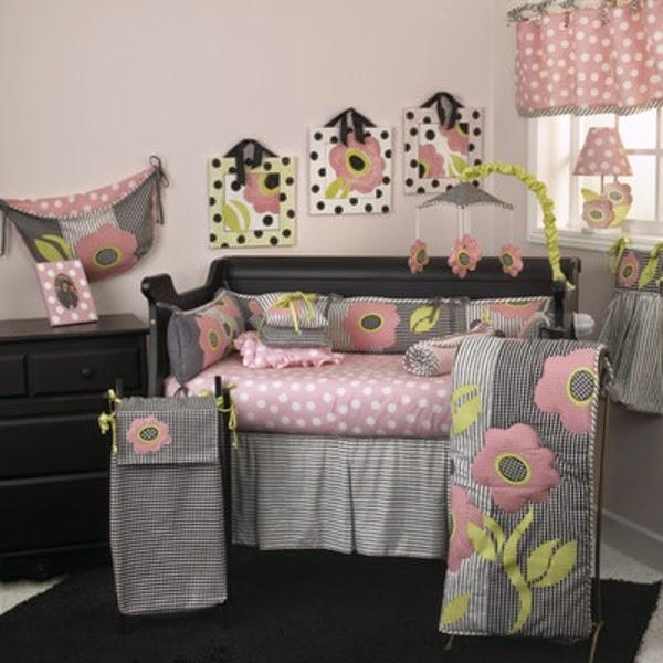 cuarto bebé gris rosa