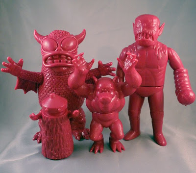 Superfestival 58 Exclusive Unpainted Grape Vinyl Figures by Monster Worship - Kusogon, Real Fighting Greasebat, Altar Beast & Cannibal Fuckface