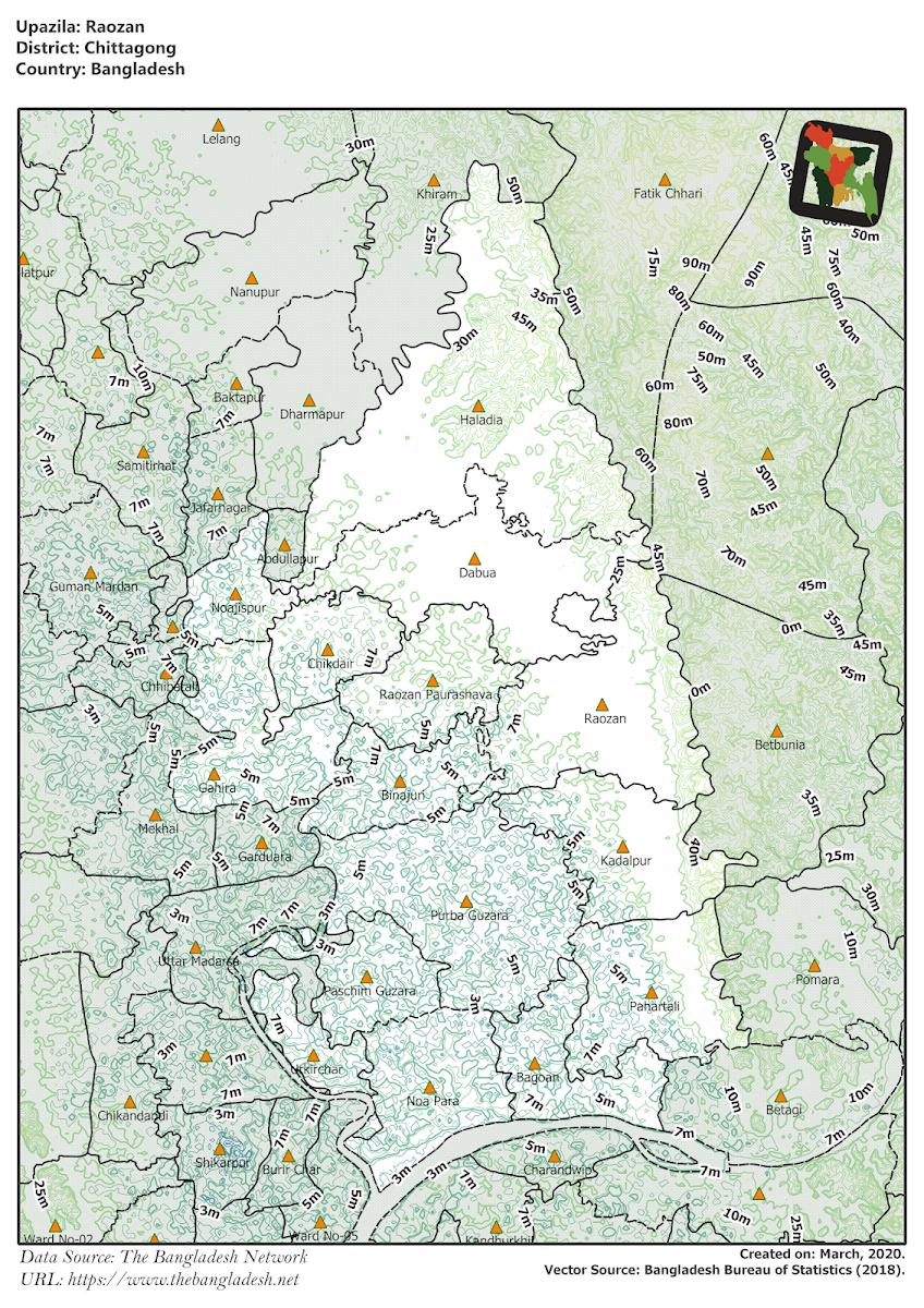 Raozan Upazila Elevation Map Chittagong District Bangladesh