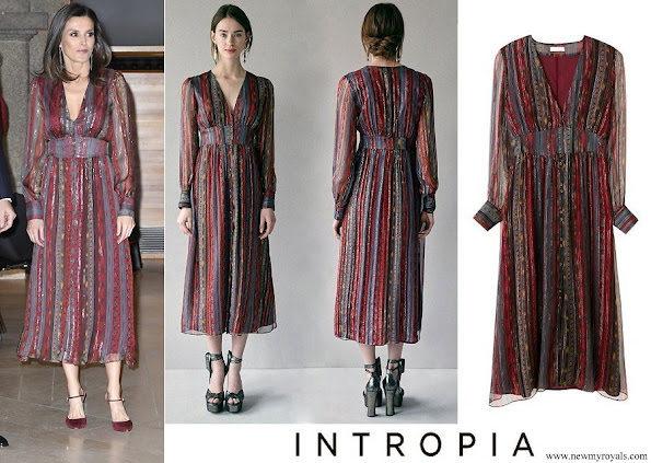 Queen Letizia wore Intropia Lurex details silk midi dress