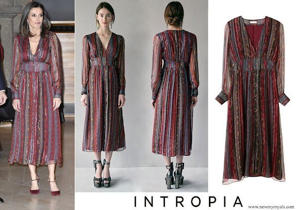 Queen Letizia wore Intropia Lurex details silk midi dress