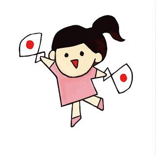 日ノ丸の入ったセンスを持って応援する女の子のイラスト