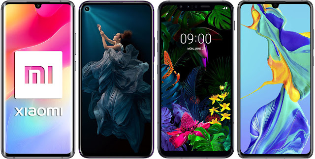 Xiaomi Mi Note 10 Lite vs Honor 20 Pro 256 GB vs LG G8 Smart Green Thinq vs Huawei P30