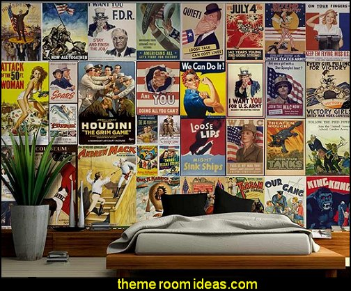 American Posters Collage with Vintage War Propaganda and Classic Movie Posters Wall Mural