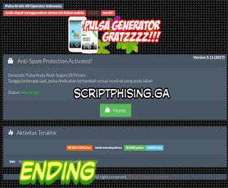 Tampilan Ending Demo Script Phising fb Tampilan Pulsa Gratis