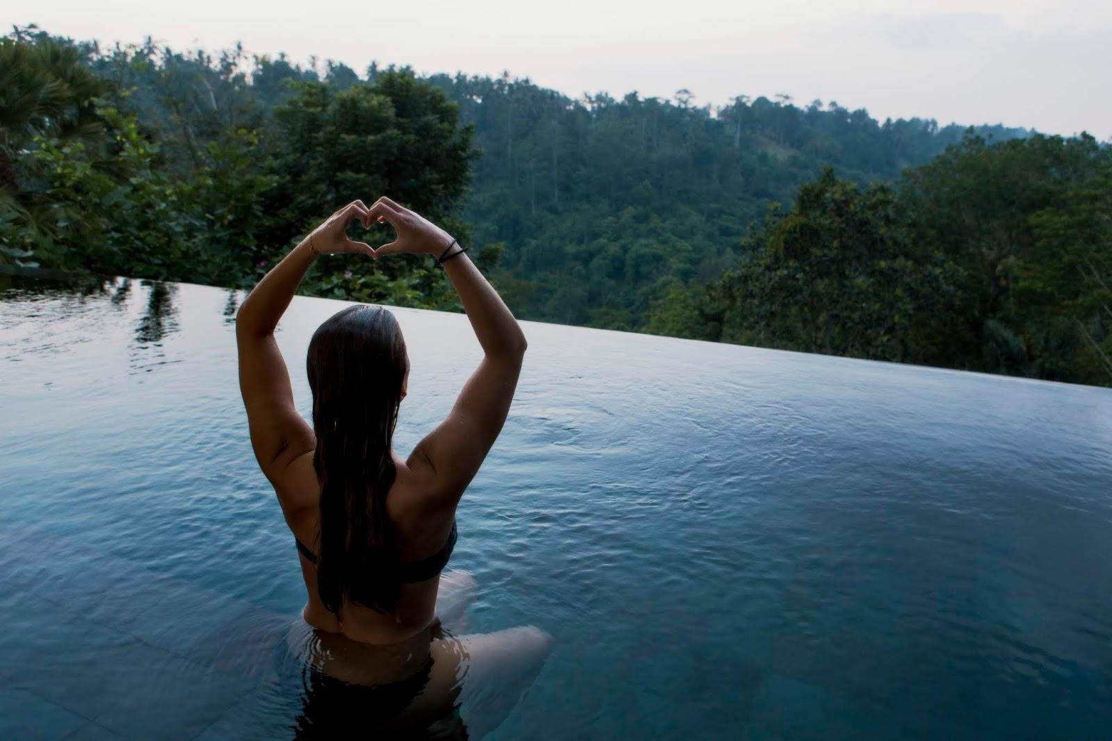 girl in swimsuit is meditating