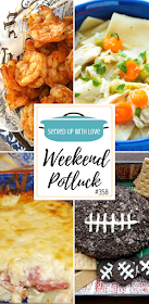 Weekend Potluck featured recipes include Ham Scalloped Potatoes, Instant Pot Chicken Pot Pie Soup, Cookies and Cream Cheese Ball, Party Shrimp, and more.