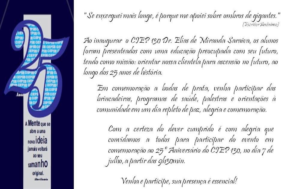 Ciep Brizolão 130 Dr Elias De Miranda Saraiva Dia Do: CIEP Brizolão 130 Dr. Elias De Miranda Saraiva: 25