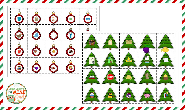 Rhyming with holiday cards. Match the ornament with tree. This is also a great practice for mid-year testing.