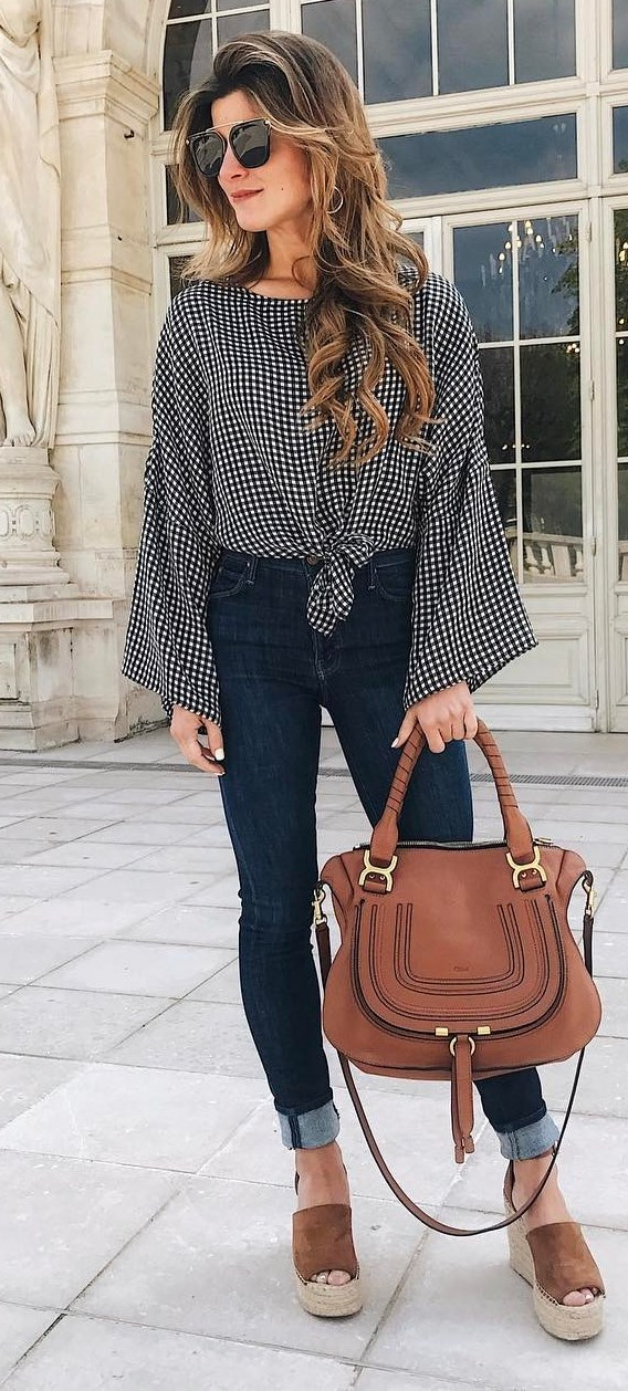cute outfit top + bag + jeans