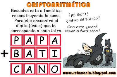Alfamética, Criptoaritmética, Criptosuma, Juego de Letras, Papa Francisco, retos matemáticos, problemas matemáticos, problemas de lógica