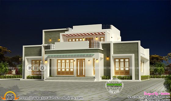2155 square feet modern flat roof house design