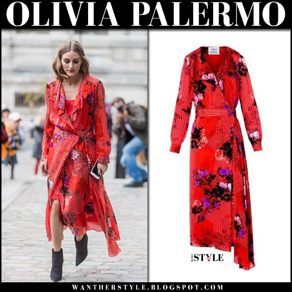 Olivia Palermo in red floral print wrap dress preen and black boots at London Fashion Week