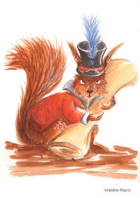 Cooper, aquarelle, écureuil