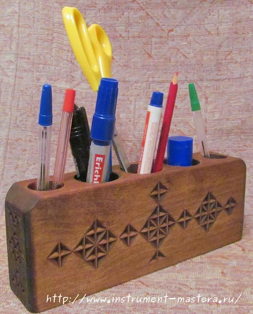 Деревянная карандашница резная