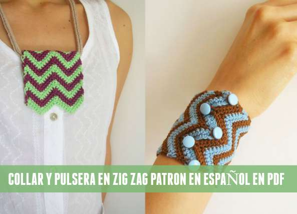 collar, pulsera, crochet, zig zag, chevron, punto ganchillo