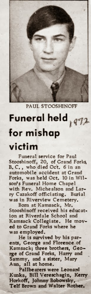 Obituary of Paul Stooshinoff