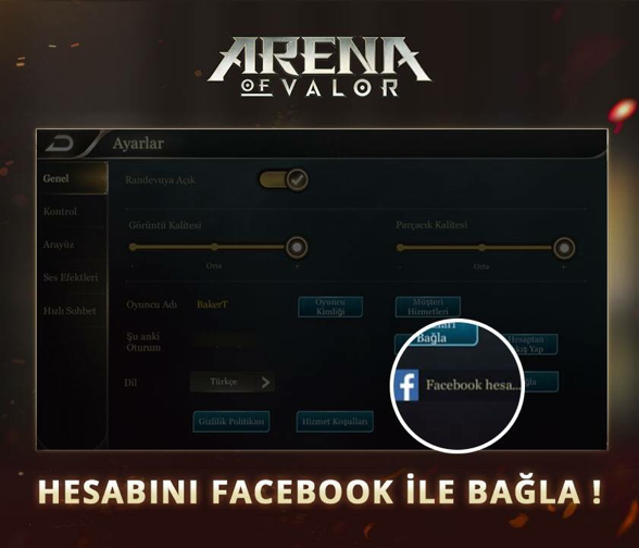 Arena of Valor facebook hesap bağlama