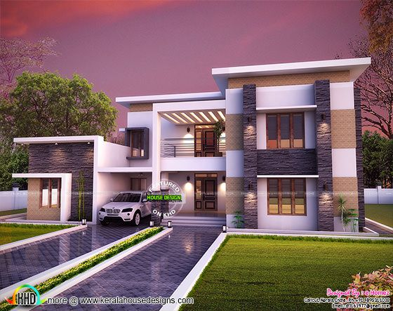 3654 sq-ft flat roof house plan