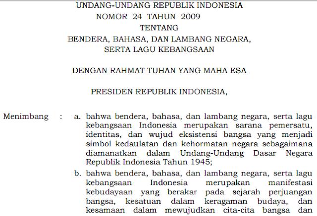 gambar undang-undang nomor 24 tahun 2009