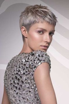 fabulous grey pixie cut
